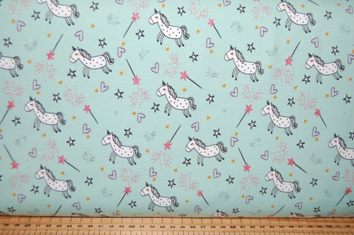 Fabric Shack Sewing Quilting Sew Fat Quarter Cotton Quilt Patchwork Dressmaking Poppy Europe Jersey Knit T-Shirt Tshirt Sweatshirt Cotton Elastane Spandex Believe in Magic Unicorn Wand Fair (2)