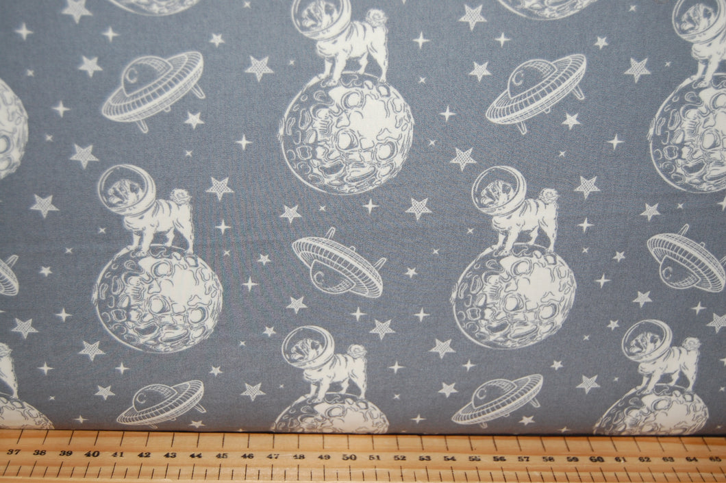 Fabric Shack Sewing Quilting Sew Fat Quarter Cotton Quilt Patchwork Dressmaking Pugs in Space Dog Flying Saucer Stars Navy Grey Gray Black Rose & Hubble and Spaceship Pug Puppy (3)
