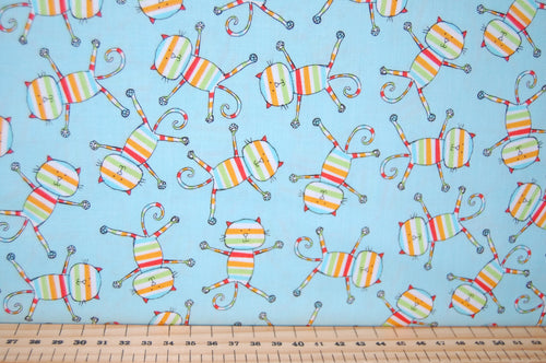 Fabric Shack Sewing Quilting Sew Fat Quarter Cotton Quilt Patchwork Dressmaking Rainbow Kids Cats Pussy Kitty Kitten Pink Blue Orange (3) Michael Miller