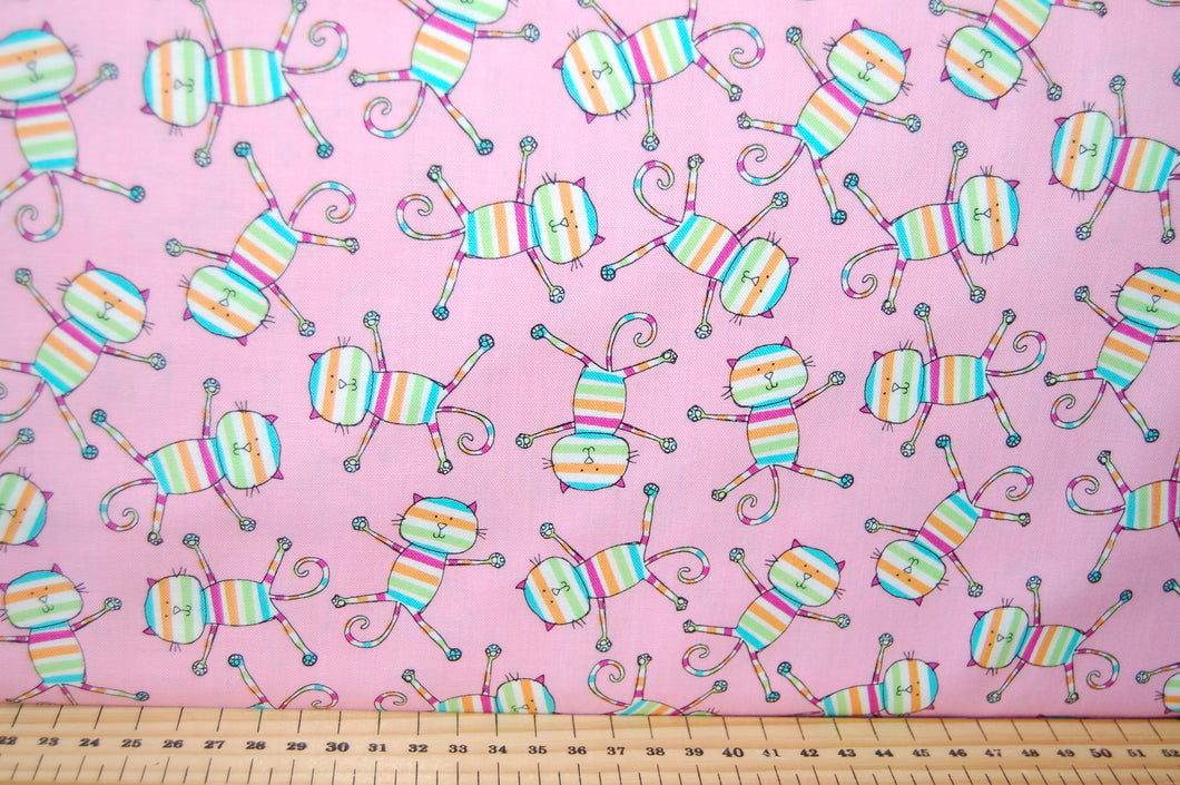 Fabric Shack Sewing Quilting Sew Fat Quarter Cotton Quilt Patchwork Dressmaking Rainbow Kids Cats Pussy Kitty Kitten Pink Michael Miller