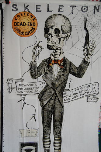 Fabric Shack Sewing Quilting Sew Fat Quarter Cotton Quilt Patchwork Dressmaking Riley Blake J Wecker Frisch Joy Studio Costume Makers Ball Panel Goth Macabre Halloween Horror Skeleton Freak Show (2)