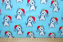 Fabric Shack Sewing Quilting Sew Fat Quarter Cotton Quilt Patchwork Dressmaking Rose & Hubble and Christmas Holidays Scotty Scottie Dog Dogs Santa Hat Terrier White Blue