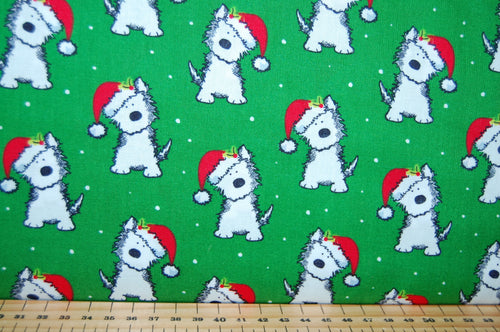 Fabric Shack Sewing Quilting Sew Fat Quarter Cotton Quilt Patchwork Dressmaking Rose & Hubble and Christmas Holidays Scotty Scottie Dog Dogs Santa Hat Terrier White Green