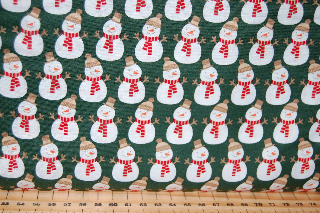 Fabric Shack Sewing Quilting Sew Fat Quarter Cotton Quilt Patchwork Dressmaking Rose & Hubble and Christmas Holidays Snowmen Dark Green Snowman