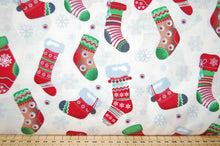 Fabric Shack Sewing Quilting Sew Fat Quarter Cotton Quilt Patchwork Dressmaking Rose & Hubble and Christmas Holidays Stocking Snowflake Cream