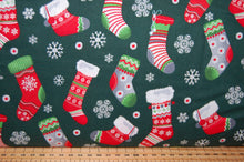 Fabric Shack Sewing Quilting Sew Fat Quarter Cotton Quilt Patchwork Dressmaking Rose & Hubble and Christmas Holidays Stocking Snowflake Dark Green