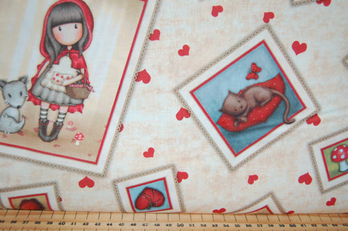 Fabric Shack Sewing Quilting Sew Fat Quarter Cotton Quilt Patchwork Dressmaking Santoro London QT Fabrics Gorjuss My Story Panel Hearts Mushrooms Cartoon Character Cat Fox