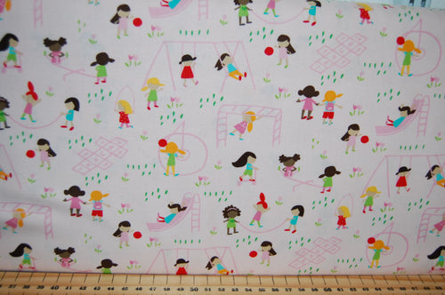 Fabric Shack Sewing Quilting Sew Fat Quarter Cotton Quilt Patchwork Dressmaking Stacey Iest Hsu Moda Best Friends Forever Multi Ethnic Panel Pony Horse Windmill Doll Dollies Toys Playhouse Play (11)