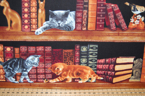 Fabric Shack Sewing Quilting Sew Fat Quarter Cotton Quilt Patchwork Dressmaking Timeless Treasures Library Book Shelf Cat Kittens Black