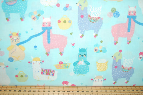 Fabric Shack Sewing Quilting Sew Fat Quarter Cotton Quilt Patchwork Dressmaking Timeless Treasures Lovable Llama Alpaca Knitting Cactus Pastel Light Blue (2)