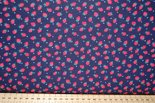 Fabric Shack Sewing Quilting Sew Fat Quarter Cotton Quilt Patchwork Strawberry Strawberries Navy Poplin Navy Blue Design 2 Dots Polka Spot Spots