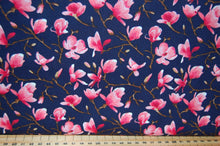 Fabric Shack Sewing Quilting Sew Fat Quarter Cotton Quilt Poplin Patchwork Dressmaking Rose & and Hubble Magnolia Cherry Blossom Chinese Japanese Flower Floral Blue Ivory Cream