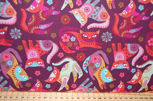 Fabric Shack Sewing Quilting Sew Fat Quarter Cotton Quilting Sew Fat Quarter Cotton Quilt Patchwork Nancy Nicholson Clothworks Stitch Cats Boho Flowers Purple Green Turquoise Red (2)