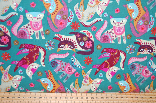 Fabric Shack Sewing Quilting Sew Fat Quarter Cotton Quilting Sew Fat Quarter Cotton Quilt Patchwork Nancy Nicholson Clothworks Stitch Cats Boho Flowers Purple Green Turquoise Red (3)