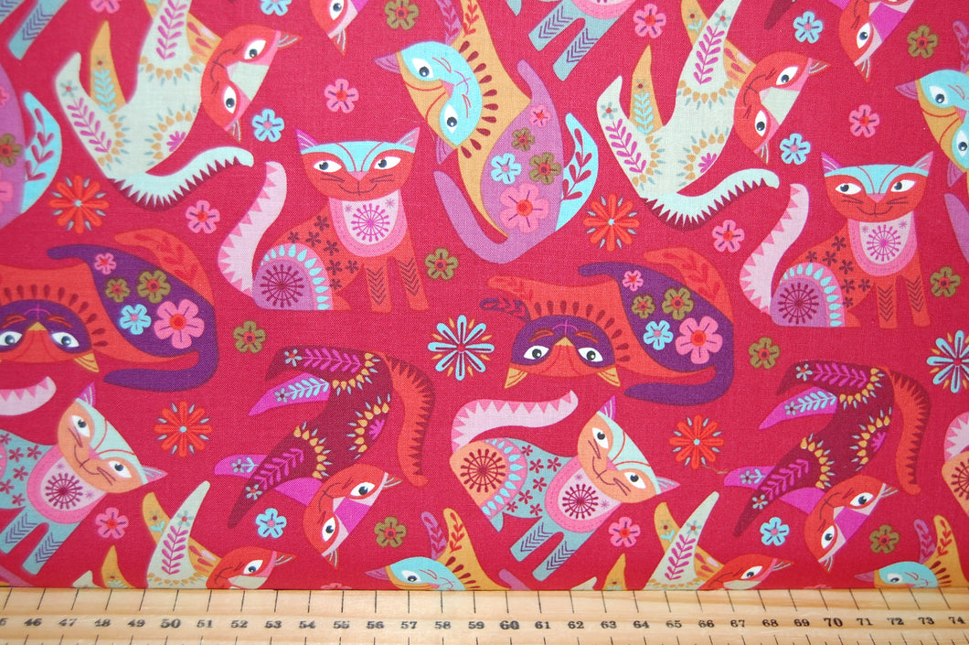 Fabric Shack Sewing Quilting Sew Fat Quarter Cotton Quilting Sew Fat Quarter Cotton Quilt Patchwork Nancy Nicholson Clothworks Stitch Cats Boho Flowers Purple Green Turquoise Red (4)