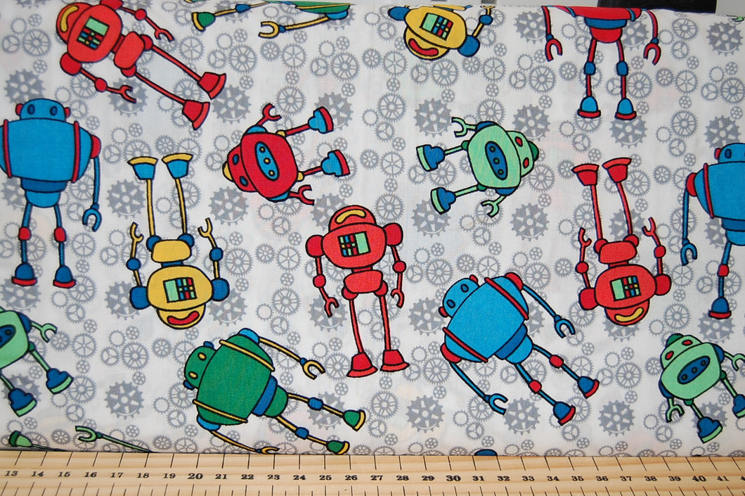 Fabric Shack Sewing Quilting Sew Fat Quarter Cotton Robots Red Blue Green