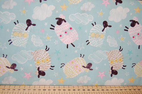 Fabric Shack Sewing Quilting Sew Fat Quarter Cotton Sheep Woolly Jumper Dreams Counting
