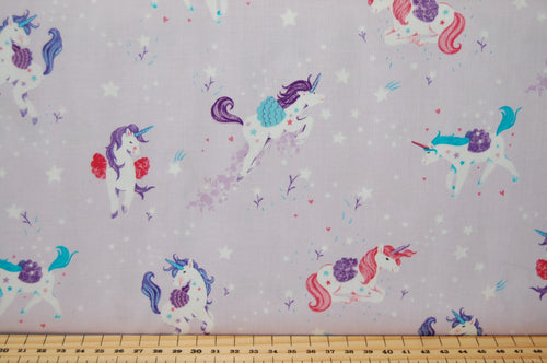 Fabric Shack Sewing Quilting Sew Fat Quarter Cotton Studio E Unicorn Unicorns Kisses Carriage Castle Cloud Start Hearts Butterflies Rainbow Magical Mystical Panel Lucie Lucy Crovatto Purple Lilac Tree Wood 4