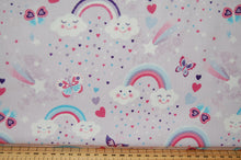 Fabric Shack Sewing Quilting Sew Fat Quarter Cotton Studio E Unicorn Unicorns Kisses Carriage Castle Cloud Start Hearts Butterflies Rainbow Magical Mystical Panel Lucie Lucy Crovatto Purple Lilac Tree Wood 6