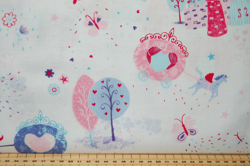 Fabric Shack Sewing Quilting Sew Fat Quarter Cotton Studio E Unicorn Unicorns Kisses Carriage Castle Cloud Start Hearts Butterflies Rainbow Magical Mystical Panel Lucie Lucy Crovatto Purple Lilac Tree Wood 3