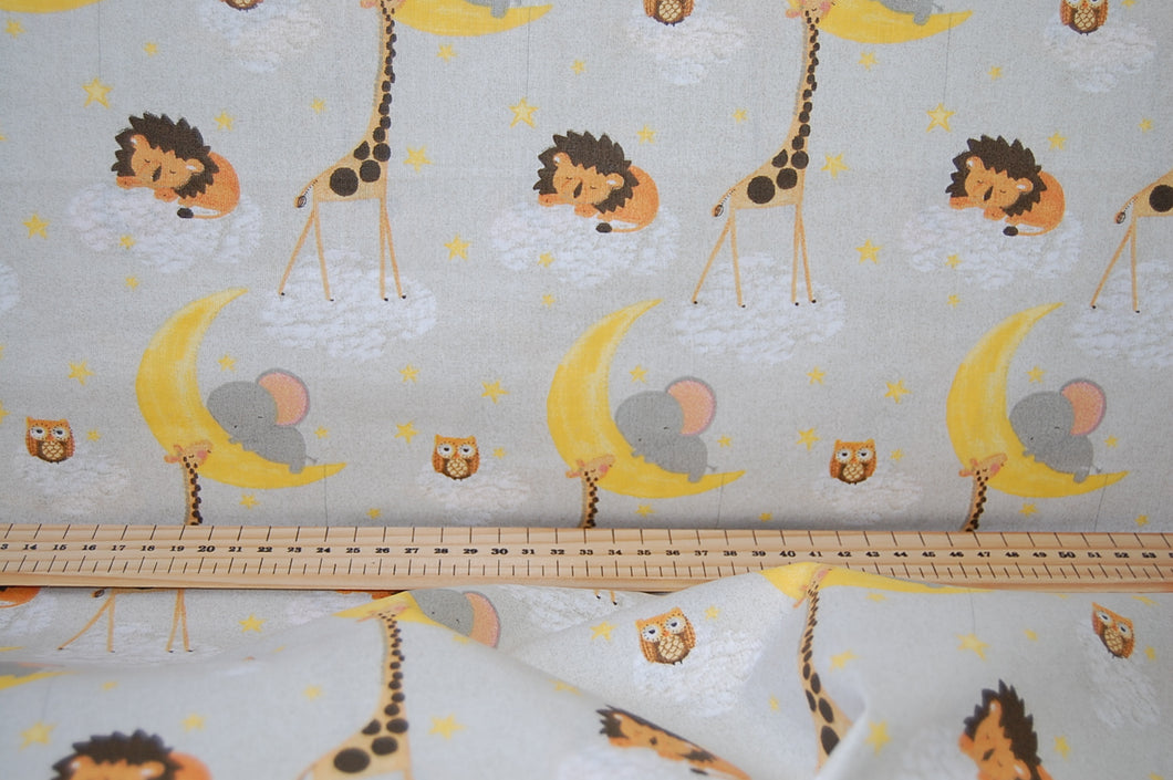 Fabric Shack Sewing Quilting Sew Fat Quarter Cotton Twinkle Twinkle Little Star Moon Lion Owl Giraffe Elephant Gender Neutral 4