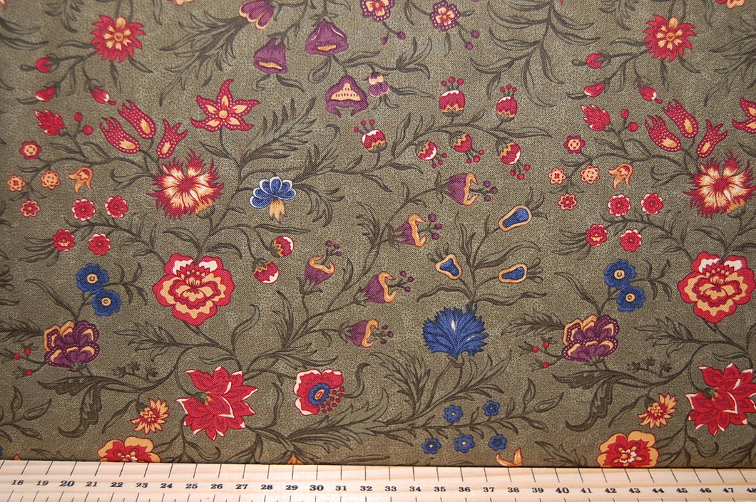 Fabric Shack Sewing Quilting Sew Fat Quarter Cotton quilt Patchwork Dressmaking Medium Floral Flower Woodland Autumn Navy Sand Cream Sage Green