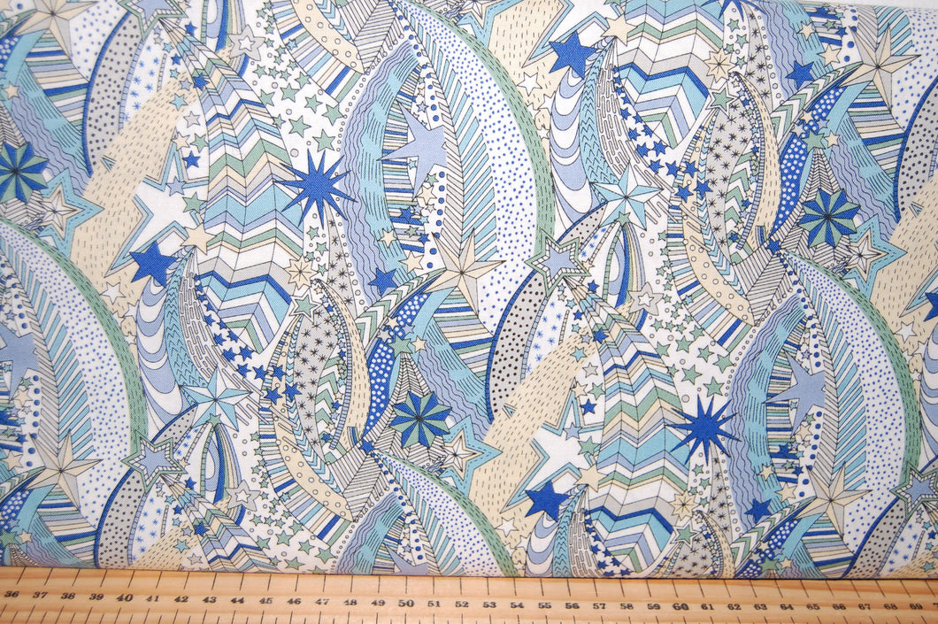 Fabric Shack Sewing Quilting Sew Fat Quartr Cotton Quilt Patchwork Dressmaking Liberty Lazenby Adventures in the Sky Space Rocket Spaceship Star Cloud Balloon Pattern Nabulae Cover Dance My Li (8)