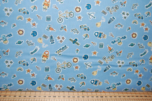 Fabric Shack Sewing Quilting Sew Fat Quartr Cotton Quilt Patchwork Dressmaking Liberty Lazenby Adventures in the Sky Space Rocket Spaceship Star Cloud Balloon Pattern Nabulae Cover Dance My Li (4)