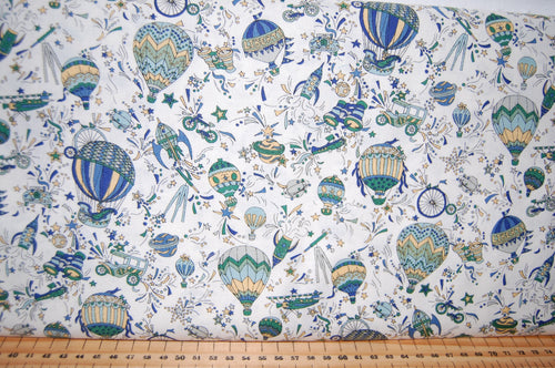 Fabric Shack Sewing Quilting Sew Fat Quartr Cotton Quilt Patchwork Dressmaking Liberty Lazenby Adventures in the Sky Space Rocket Spaceship Star Cloud Balloon Pattern Nabulae Cover Dance My Li (6)