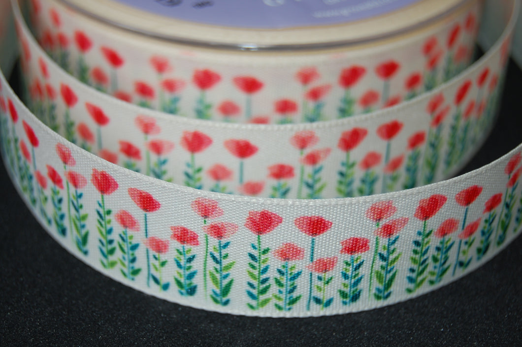 Fabric Shack Sewing Quilting Sew Ribbon Haberdashery Poppy Poppies Remembrance Armistice Day Field 25mm
