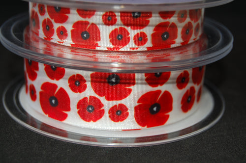 Fabric Shack Sewing Quilting Sew Ribbon Haberdashery Poppy Poppies Remembrance Armistice Day Head Field 15mm 25mm