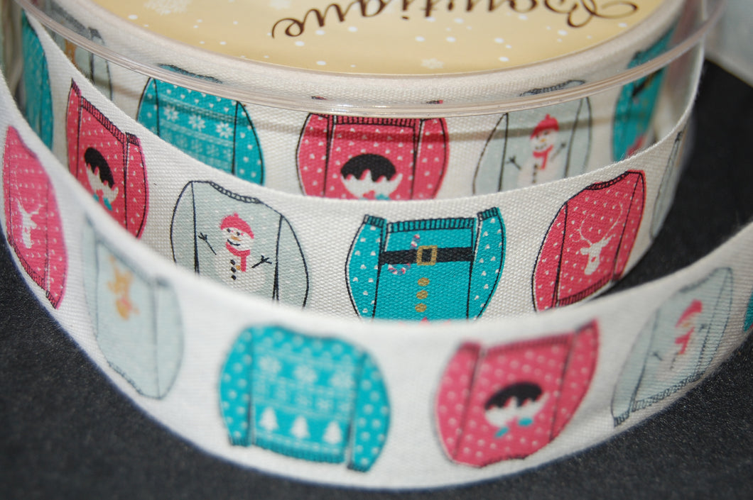 Fabric Shack Sewing Quilting Sew Ribbon Trim Gift Wrap Haberdashery Christmas Jumpers  25mm