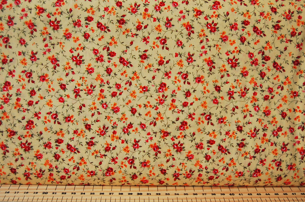 Fabric Shack Small Ditsy Flower Floral Red Orange Cotton Fabric Fat Quarter
