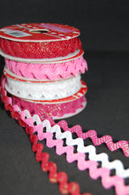 Fabric Shack Valentine Heart Pink Red White Ric Rac Metallic Sparkly Ribbon Trim