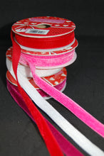 Fabric Shack Valentine Red Pink White Ribbed Velvet Ribbon Trim