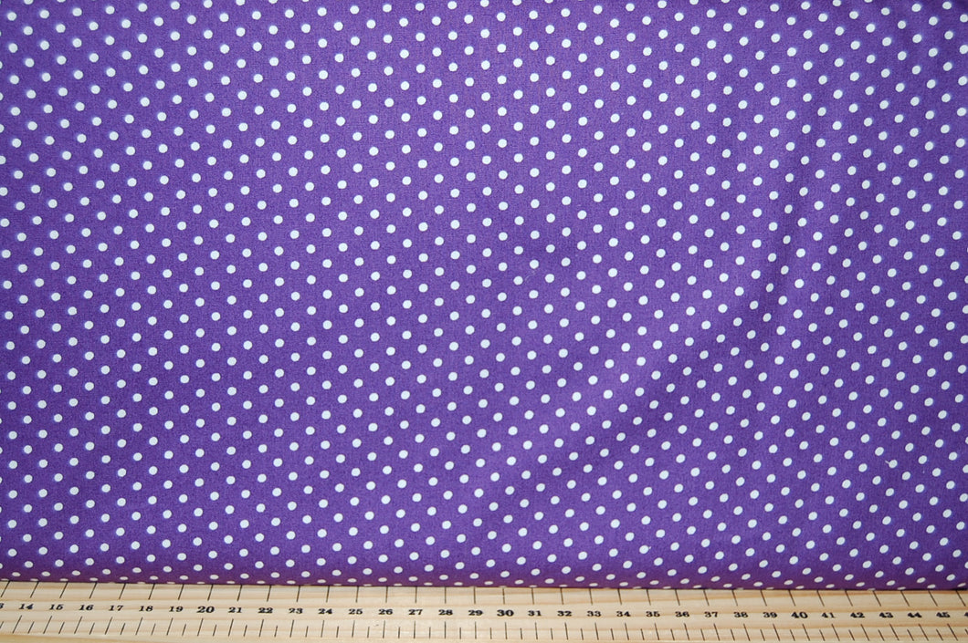Fabric Shack sewing quilting sew fat quarter quilt patchwork dressmaking Rose & Hubble 3mm Polka Dot Spot Cotton Poplin purple