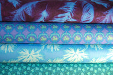 Free Spirit Nel Whatmore Ghost Feathers Blue Purple Cotton Fabric