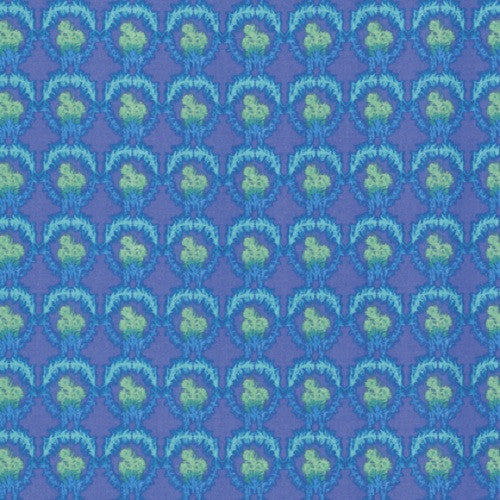 Free Spirit Nel Whatmore Verbena Floral Blue Purple Cotton Fabric