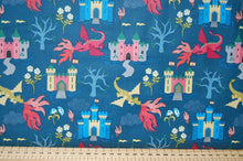Lewis & Irene Dragon Dragons Castle Flying Flames Fire Eyes Mythical Creatures Fabric Shack Sewing Quilting Sew Fat Quarter Cottton