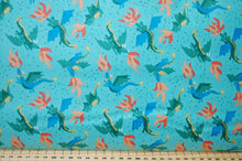 Lewis & Irene Dragon Dragons Castle Flying Flames Fire Eyes Mythical Creatures Fabric Shack Sewing Quilting Sew Fat Quarter Cottton Light Blue Jade