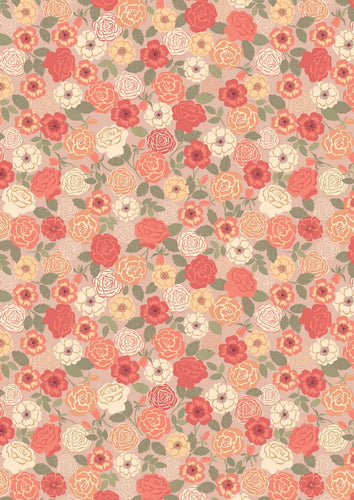 Lewis Irene Flos Wildflowers Roses Peach Cotton Fabric