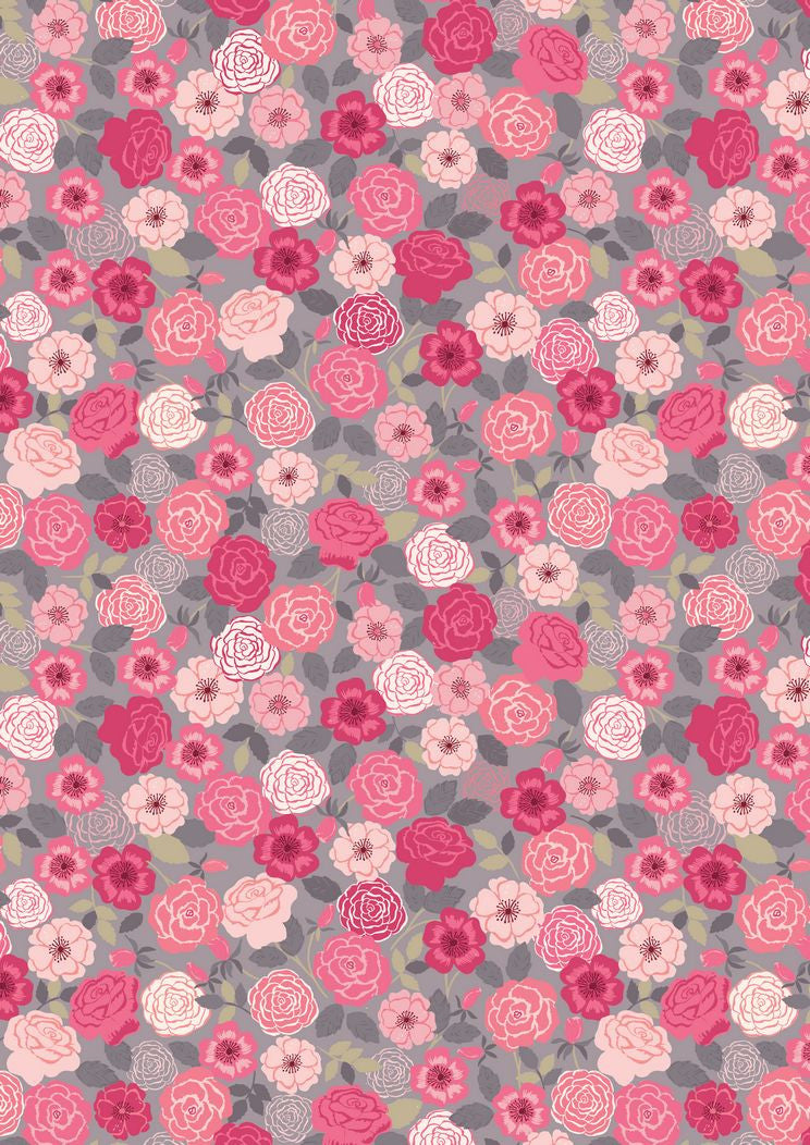 Lewis Irene Flos Wildflowers Roses Pink on Grey Cotton Fabric