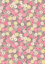 Lewis Irene Flos Wildflowers Roses Yellow Pink on Grey Cotton Fabric