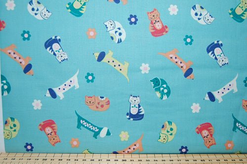 Lewis & Irene Sam & Mitzi Dogs Cats Weiner Dachsund Sausage Flowers Sewing Quilting Sew Fat Quarter Cotton Blue Cream Linen