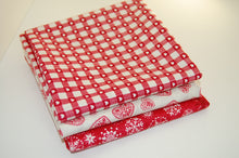 Makower Scandi Christmas Red Grey Heart Check Snowflake Reindeer Cotton Fabric Fat Quarter Bundle