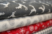 Makower Scandi Christmas Red Grey Heart Check Snowflake Reindeer Cotton Fabric