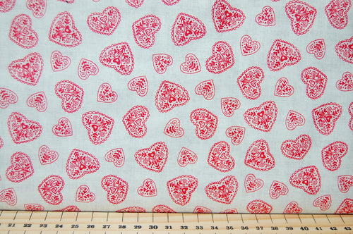 Makower Scandi Christmas Red Heart on Natural Cotton Fabric