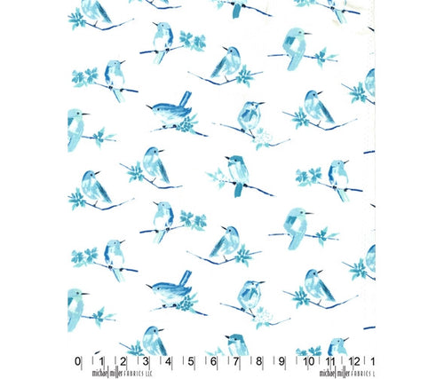 Michael Miller Butterfly Row Bird Watch Cotton Fabric Blue White