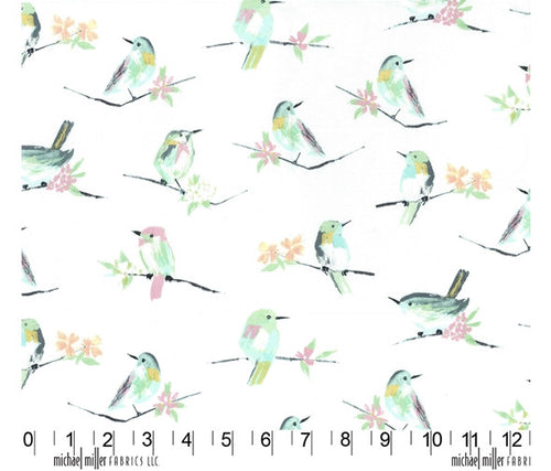 Michael Miller Butterfly Row Bird Watch Cotton Fabric Green Pink White