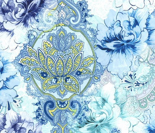 Michael Miller Flower Burst Paisley Large Flower Blue on White Cotton Fabric